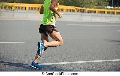 都市, ランナー, 動くこと, マラソン, フィットネス, マレ, 道