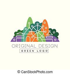 都市, ロゴ, カラフルである, 公園, イラスト, ベクトル, 緑の風景, 背景, ロゴ, デザイン, 白, スカイライン, オリジナル, 娯楽
