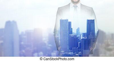 都市, 上に, の上, 背景, ビジネスマン, 終わり