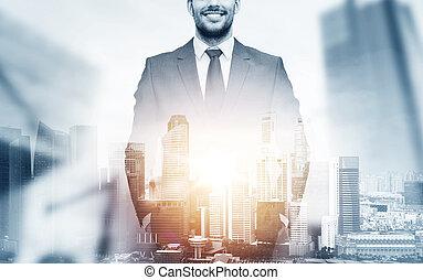 都市, 上に, の上, 背景, ビジネスマン, 終わり, 幸せ