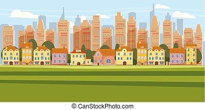 都市, 上に, シルエット, 超高層ビル, パノラマ, 郊外, 現代, イラスト, ダウンタウンに, スカイライン, ベクトル, 背景, 都市の景観, 漫画