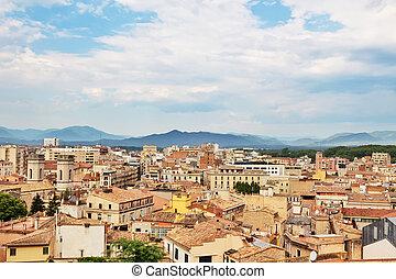 都市, 上に, 光景, girona, カタロニア