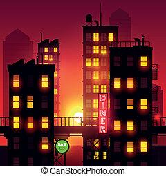 都市, 上に, 日没