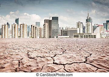 都市, 上に, 顔つき, 地球, 割れた, 風景