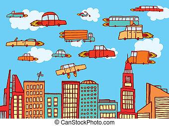 都市, 上に, 飛行, 未来, 自動車