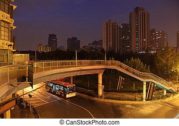 都市, 上海, 現場, 陶磁器, 夜