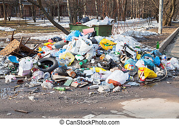 都市, 世帯, ごみ, dumpster