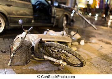 都市, 事故, 通り, モーターバイク