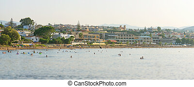 都市, 人々。, 光景, 浜, パノラマである