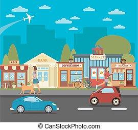 都市 人々, town., cars., イラスト, 小さい, ベクトル, 店, 都市の景観, 活動的