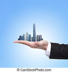 都市, 人, 手を持つ