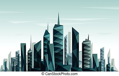 都市, 作られた, 三角形, 形態, 抽象的, 幾何学的, 未来派