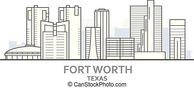 都市, 価値, パノラマ, -, ダウンタウンに, スカイライン, 都市の景観, 価値, テキサス, 城砦