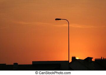 都市, 光景, ∥において∥, 日没
