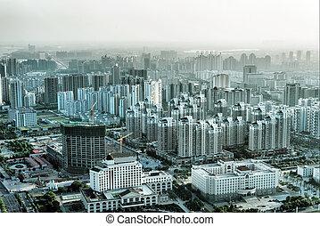 都市, 光景, 航空写真, 大きい