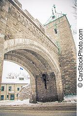都市, 入口, 古い, ケベック