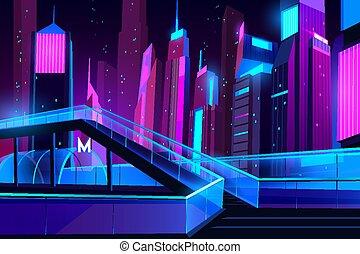 都市, 入口, 地下鉄, ガラス, 間接費, 夜, 道