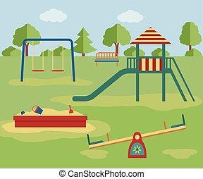 都市 公園, スライド, おもちゃ, 子供の運動場, sandpit.