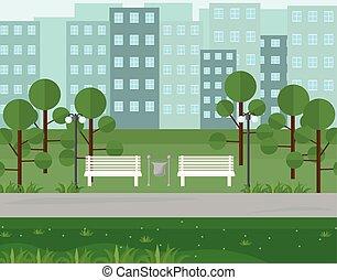 都市 公園, 光景, 中に, 夏, seasons., ベクトル, 背景