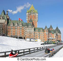 都市, 冬, ケベック, 城 frontenac