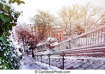 都市, 冬, パリ, 後で, 積雪量, 都市の景観
