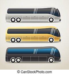 都市, 別, 色, バス, イラスト, ベクトル