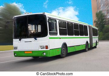 都市, 前方へ, 通り, 動く, バス