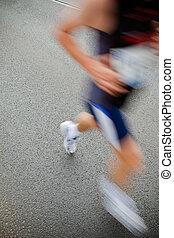 都市, -, 動き, 動くこと, ぼやけ, マラソン, 人