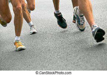 都市, 動くこと, マラソン, 人々