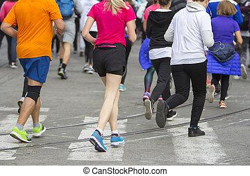 都市, 動くこと, レース, マラソン, 道