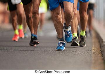 都市, 動くこと, 道, ランナー, マラソン