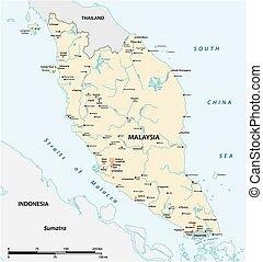 都市, 半島, 本, マライ人, ベクトル, マレーシア, 地図