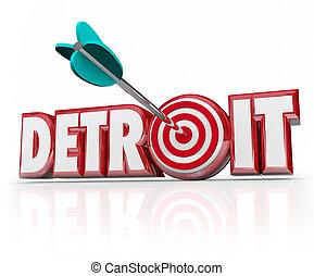 都市, 単語, ターゲット, 自動車, 産業, 中心部, 矢, デトロイト, モーター