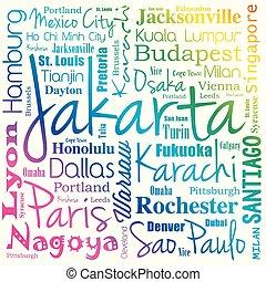 都市, 単語, 雲, 世界