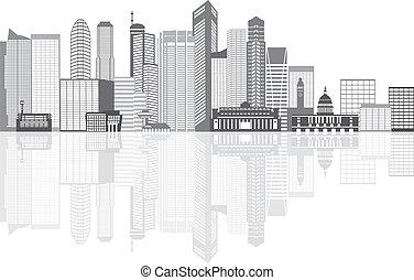 都市, 反射, シンガポール, grayscale, イラスト, スカイライン