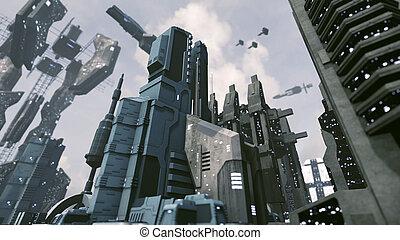 都市, 取得, レンダリング, scifi, 離れて。, 宇宙船, 未来派, 3d