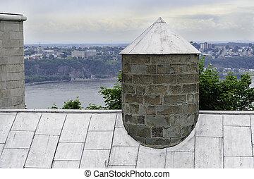 都市, 古い, ケベック, 屋根