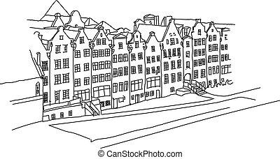 都市, 古い, ドイツ語, 手, ベクトル, 背景, 引かれる, 風景
