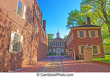 都市, 古い, フィラデルフィア, パパ, 大工, ホール