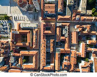 都市, 古い, 光景, 航空写真, zadar.