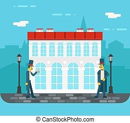 都市, 古い, 平ら, 通り, イラスト, 紳士, ベクトル, デザイン, 背景, 流行, ミーティング, アイコン