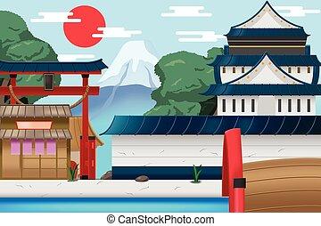 都市, 古い, 旅行, ベクトル, 背景, 日本