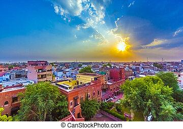 都市, 古い, 有名, bikaner, indian, 日没, rajasthan, 都市の景観, 城砦