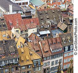 都市, 古い, 航空写真, ストラスブール, 光景