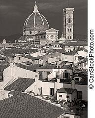 都市, 古い, ba, パノラマ, すばらしい, 大聖堂, フィレンツェ