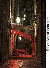 都市, 古い, dubrovnik, 通り, 夜, 光景