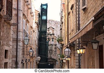 都市, 古い, dubrovnik, 通り, croatia, narrow