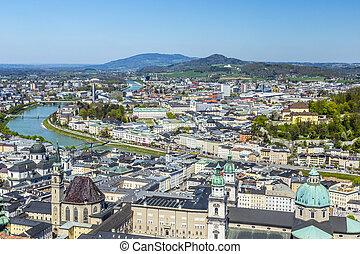 都市, 古い, hohensalzburg, ザルツブルグ, 丘, 城, 光景
