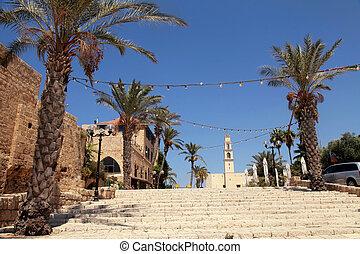 都市, 古い, israel., jaffa, aviv, ∥電話番号∥, 港