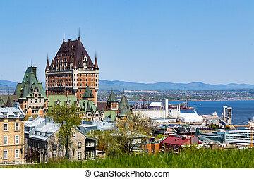 都市, 古い, lawrence, st., ケベック, 川
